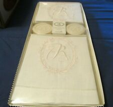 "Mud Pie Initial ""R"" Linen Bathroom Towels & Vanillawood Soap Set New"