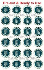24x HAPPY FATHER'S DAY Edible Wafer Cupcake Toppers PreCut Ready to Use Design 1