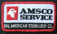 "AMERICAN STERILIZER EMBROIDERED SEW ON PATCH AMSCO SERVICE UNIFORM 3 1/2"" x 2"""