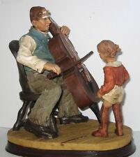 Der Kontrabass Spieler Deko Figur mit Mädchen, im Nostalgie Stil, 20x17x12cm
