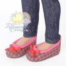 "Ballet Ribbon Pumps Shoes Rose Pink/Khaki Plaid for 14"" Kish/17"" Goodreau BJD"