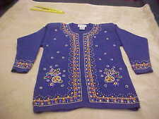 RARE VINTAGE LADIES SWEATER BLUE HEAVILY BEADED ACCENT WESTERN CONNECTION SIZE S
