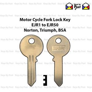 EJR Series Key for Norton, Triumph,  BSA Steering Lock EJR1 - EJR50 Cut to Code