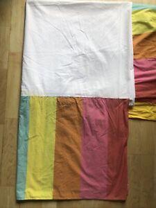 Kaffe Fassett Pine Cone Hill Bold Stripe KING Bed Skirt Pink Orange Yellow Aqua
