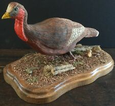 HAND CARVED AND PAINTED ARTIST SIGNED BASSWOOD WOOD WILD TURKEY BIRD ART FIGURE