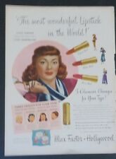 Original Print Ad 1948 MAX FACTORY Lana Turner Make Up Most Wonderful in World