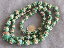 Rare Vintage Antique Venetian Murano Glass Wedding Cake Bead Necklace Green