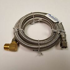 """Stainless Steel Dishwasher Connector 3/8"""" Flare x 3/8"""" MIP Elbow, 48"""" lg. Hose"""
