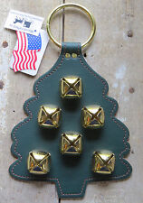 Christmas Tree Sleigh Bell Dog Door Chime Amish Handmade Usa Brass Leather