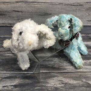Vtg Antique Gund Puppy Dog Scottie Plaid Sani Foam stuffed Animal 50's Lot 2