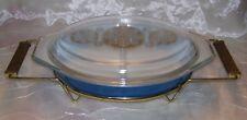 Pyrex Promotional BLUE ROYAL Serving Dish -1 1/2 Qt -Gold Medallion Lid & Cradle