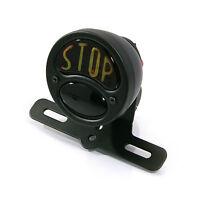 Motorbike Stop Tail Light Matt Black Vintage Retro STOP Universal - Bulb Type