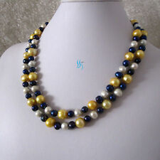 "38"" 7-11mm White Navy Gold Freshwater Pearl Necklace"