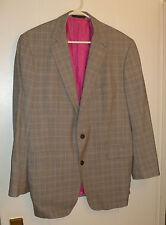 Elegant DUCHAMP London Gray & Lavender Plaid Wool Blazer Jacket, Size 44R