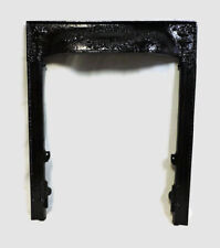 ANTIQUE LATE 1800'S CAST IRON ORNATE FIREPLACE INSERT COVER FRAME TORCH DESIGN a
