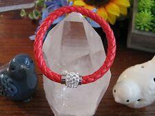 New  Deep Salmon Woven Leather Cuff Bracelet w/Crystal Disco Ball Clasp