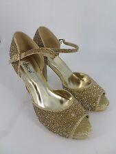 Unze London Gold DIamante Embellished Heeled Sandals UK 7 EU 40 LN14 03