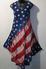 Dress Fits 1X 2X 3X Plus Sundress Red White Blue Stars Stripes Tie Dye NWT 7144