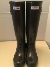 Hunter Original Glossy womens brown tall rubber rain boots Size 6