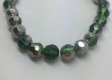 8mm Green Half Coat Faceted Glass Beads - Silver Coat - Approx 40pcs