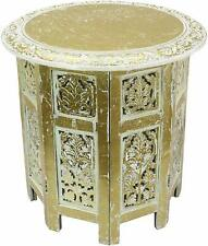 White and Gold Colored Wooden Coffee Table