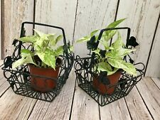 New ListingLot of 2 Small Square Metal Desk Table Basket Planters