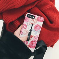 Relief Flower Pattern Ring Stand Holder Hard Case Cover For iPhone X 8 6s 7 Plus