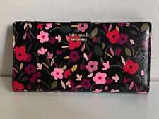 NEW! KATE SPADE STACY CAMERON STREET BOHO BLACK FLORAL CLUTCH WALLET
