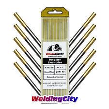 10-pk TIG Welding Tungsten Electrode 1.5% Lanthanated (Gold) 1/16