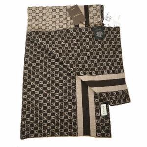 NEW $420 GUCCI Men Brown/Tan GG LOGO Guccissima 100% WOOL KNIT Web Stripe SCARF