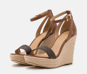 Michael Kors Kimberly Wedge Leather Brown/Luggage Women's US sizes 5.5-10/NEW!!