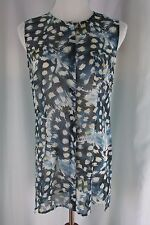 CABI Tunic Top Blouse Sheer Size Small  S Blue Print