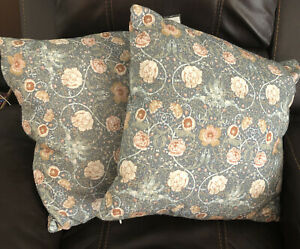 """Pair Of Threshold Designed w/Studio McGee Floral Square Throw Pillows 20""""x20"""""""