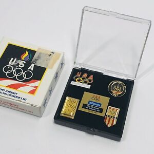 1992 JCPenney US Olympic Pin Collector's Set with Box USA Albertville (SM6)