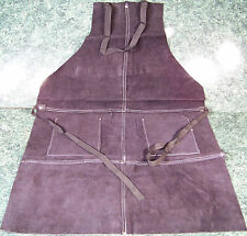 Black All Leather Work Shop Apron w/ 2 Pockets Heavy Duty Thick Big Long Ties ne
