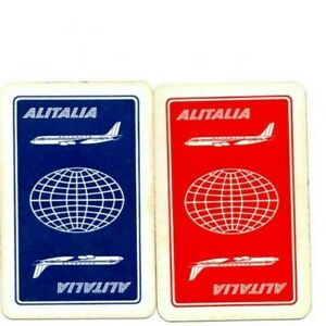 """Pair of RARE VINTAGE """"Alitalia Airlines"""" SINGLE Playing Cards"""