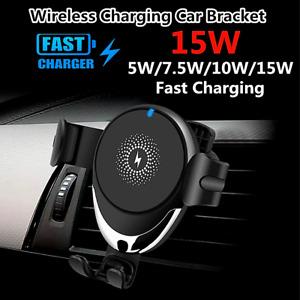 Cargador de Coche Carro Auto Inalambrico Qi Carga Rapida For iPhone Samsung 15W