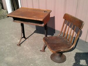 Antique School Desk and Chair Kenny Bros & Wolkins Boston Mass. No.5 1880s