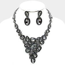 LUXE Hematite Black Diamond Crystal Cocktail Necklace Set By Rocks Boutique