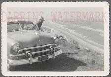 Vintage Car Photo 1951 Ford Victoria Automobile w/ Roadside Ocean View 768032