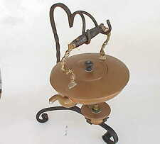 Antique Copper Tea Pot & Wrought Iron Stand And Burner Heater