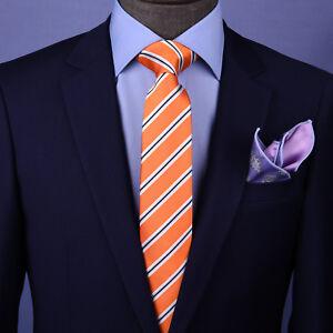 """Orange Stripe 3"""" Necktie Business Elegance  For Professional Formal Ego"""