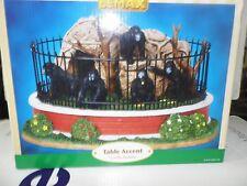 Lemax Zoo Lot 4 Pieces Gorilla Habitat + Lion Cage + Panda Cage + Zebra Family