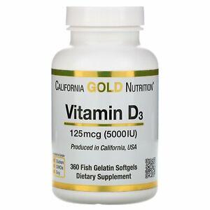 California Gold Nutrition, Vitamin D3, 125 mcg (5,000 IU),  360 Softgels.