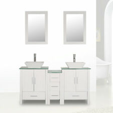 """60"""" White Bathroom Vanity Sink Combo Cabinet Glass Top Double Basin w/Faucet set"""