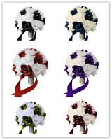 "10"" Wedding Bouquet - White Bridal Bouquet and Color of Your Choice - Silk Roses"