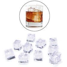 10x/Pack Cubetti di ghiaccio acrilico finti finti Crystal Clear 2/2.5/3cm`Square