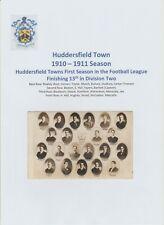 HUDDERSFIELD TOWN 1910-1911 VERY RARE ORIGINAL OFFICIAL CLUB POSTCARD TEAM GROUP