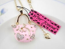 Betsey Johnson pink crystal Rhinestone handbag pendant necklace # F350