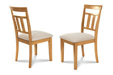 SET OF 4 DINETTE KITCHEN DINING SIDE CHAIRS WITH  SOFT-PADDED SEAT, OAK FINISH